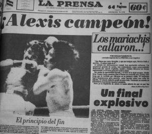 """El 23 de noviembre de 1974  la predicción se hizo realidad. Alexis venció a Rubén """"El Púas"""" Olivares y Nicaragua ganó su primer campeón mundial de boxeo."""